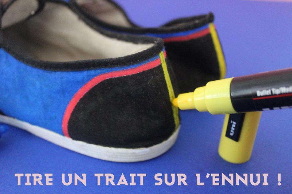 coloriage de mes chaussures avec un feutre posca jaune