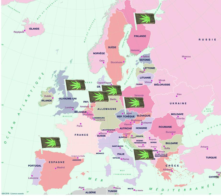 carte de l'europe et la legalisation du cannabis medicinal